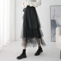 skirt Winter of 2019 Average size Black, apricot Mid length dress commute High waist Cake skirt Solid color Type A 25-29 years old More than 95% other Qinyou polyester fiber Korean version