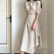 Dress Summer 2021 BEIGE BLACK S M L XL Mid length dress singleton  Short sleeve commute other High waist Solid color Socket A-line skirt routine Others 25-29 years old Type A Yingyuqin Korean version Button XYB - one thousand and thirty-nine More than 95% other other Other 100%