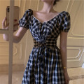 Dress Summer 2021 Black Plaid Skirt S M L XL Mid length dress singleton  Short sleeve commute V-neck High waist lattice Socket A-line skirt puff sleeve Others 18-24 years old Type A Yingyuqin Korean version Frenulum WZY-7780 More than 95% other other Other 100% Pure e-commerce (online only)