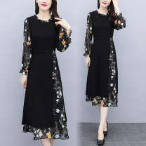 Women's large Autumn 2020 Picture color L (recommended 100-115 kg), XL (recommended 115-130 kg), 2XL (recommended 130-145 kg), 3XL (recommended 145-160 kg), 4XL (recommended 160-180 kg), 5XL (recommended 180-200 kg) Dress singleton  commute easy moderate Socket Long sleeves Broken flowers Crew neck