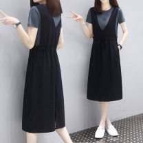 Dress Summer 2021 Tibetan + Black two-piece set, white + Black two-piece set M,L,XL,2XL,3XL longuette Two piece set Short sleeve street Crew neck Elastic waist Solid color Socket A-line skirt routine straps 18-24 years old Type A ONLY PERTECT Pleating, pocket, stitching, resin fixation brocade cotton
