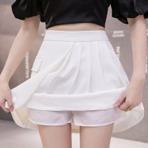 skirt Summer 2021 S M L XL Black and white Short skirt Versatile High waist Pleated skirt Solid color Type A LYY21-359 More than 95% other Li Yinyan other Asymmetric zipper Other 100% Pure e-commerce (online only)