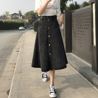 skirt Spring 2021 S M L XL 2XL Black dark blue light blue Mid length dress commute High waist A-line skirt Solid color Type A More than 95% other Li Yinyan other Pocket lace up for old buttons Retro Other 100% Pure e-commerce (online only)