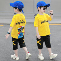 suit Pinbalabala White, green, yellow 110cm,120cm,130cm,140cm,150cm,160cm male summer leisure time Short sleeve + pants 2 pieces Thin money There are models in the real shooting Socket nothing Cartoon animation cotton friend Giving presents at school JF super Mary suit 8-30 other Other 100%