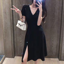 Dress Summer 2021 Brilliant black S,M,L,XL Mid length dress singleton  Short sleeve commute V-neck Elastic waist Decor zipper Irregular skirt routine Others 25-29 years old Type A VALVOELITE Korean version Zipper, three dimensional cutting QWER1 91% (inclusive) - 95% (inclusive) Chiffon