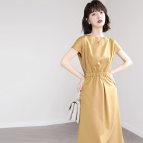 Dress Summer 2021 Blue, yellow, purple S,M,L,XL Mid length dress singleton  Sleeveless commute Crew neck High waist Solid color Socket A-line skirt routine Others Type A VALVOELITE Korean version QWER1 91% (inclusive) - 95% (inclusive) Chiffon polyester fiber