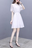Dress Summer 2021 Black, white, pink S,M,L,XL,2XL Mid length dress singleton  Short sleeve commute Crew neck Elastic waist Solid color Socket A-line skirt routine Others 25-29 years old Type A VALVOELITE Korean version QWER1 91% (inclusive) - 95% (inclusive) Chiffon Cellulose acetate