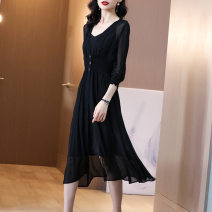 Dress Summer 2020 black S,M,L Middle-skirt singleton  elbow sleeve commute V-neck middle-waisted Solid color Socket A-line skirt pagoda sleeve Others 25-29 years old Type A VALVOELITE fold 71% (inclusive) - 80% (inclusive) other cotton