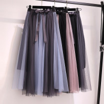 Women's large Spring 2021 Black + pink, grey + blue, grey + Black Large size L [90-115 Jin recommended], large XL [115-135 Jin recommended], large 2XL [135-155 Jin recommended], large 3XL [155-175 Jin recommended], large 4XL [175-200 Jin recommended] skirt singleton  commute easy moderate Solid color