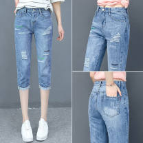 Jeans Autumn 2020 377 # Capris light blue, 399 # Capris light blue, 399 # Capris dark blue, 966 # blue Cropped Trousers Natural waist Straight pants routine 30-34 years old other light colour Damoda / yaotaiping bird