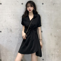 Women's large Summer 2020, summer 2021 Black, white, collect and buy baby priority delivery, ensure that the physical and picture consistent Dress singleton  commute easy thin Socket Short sleeve Solid color Korean version Vinylon fold Damoda / yaotaiping bird 96% and above Middle-skirt