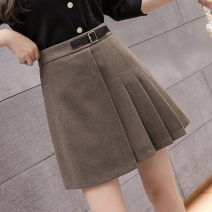 skirt Winter 2020 S,XL,2XL,L,M Black, khaki, Dark Khaki Short skirt commute High waist A-line skirt Solid color Type A 18-24 years old LLH30301580 30% and below Wool Other / other other Lace up, zipper, stitching