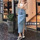 skirt Summer 2021 L S M XS blue Mid length dress Retro High waist Denim skirt Solid color Type A 18-24 years old More than 95% other Princess fan SA other Other 100% Pure e-commerce (online only)