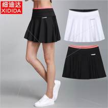 skirt Summer of 2019 M,L,XL,2XL,3XL Black, white Short skirt motion A-line skirt Type A 81% (inclusive) - 90% (inclusive) knitting Other / other polyester fiber