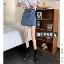 skirt Summer 2021 S M L Blue [tall version] black [tall version] Short skirt commute High waist A-line skirt Type A 18-24 years old More than 95% Denim Cui chenti other Simplicity Other 100%
