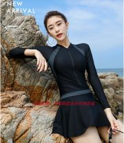 one piece  Vito Angel fan M,XXXL,XL,XXL black One piece flat corner swimsuit With chest pad without steel support Nylon, spandex WDTS6986 female Long sleeves Casual swimsuit Solid color Lotus leaf edge