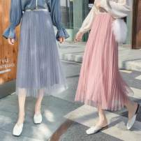 skirt Autumn of 2019 Average size Middle-skirt commute High waist Pleated skirt Solid color 18-24 years old 71% (inclusive) - 80% (inclusive) Lace Other / other other fold Korean version