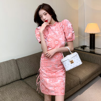 Dress Summer 2021 Hibiscus Pink S M L XL Middle-skirt singleton  Short sleeve stand collar High waist Decor zipper other puff sleeve Others 18-24 years old Meow demon Jun zipper LK211-5931 More than 95% other other Other 100% Pure e-commerce (online only)