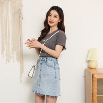 skirt Spring 2021 S M L XL XXL Light blue Short skirt commute High waist A-line skirt Solid color Type A 18-24 years old FE2-285 More than 95% Denim Chunnuo cotton Pleated pocket button lady Cotton 99.3% polyurethane elastic fiber (spandex) 0.7% Same model in shopping mall (sold online and offline)