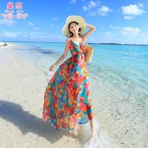 Dress Summer of 2019 Picture color S,M,L longuette singleton  Sleeveless Sweet V-neck High waist Decor Socket Big swing other camisole 25-29 years old Type A Shen Jie printing YDF*81198 More than 95% polyester fiber Bohemia