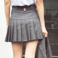 skirt Spring 2020 XS,S,M,L,XL,2XL Black, dark grey Short skirt Versatile High waist Pleated skirt Solid color A7488 Other / other zipper