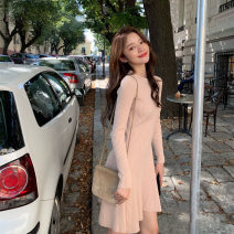 Dress Spring 2021 Brown, black, light apricot, yellow, tail goods random S,M,L,XL Short skirt singleton  Long sleeves Sweet Crew neck High waist Solid color Socket A-line skirt routine 18-24 years old Type A 81% (inclusive) - 90% (inclusive) knitting cotton college