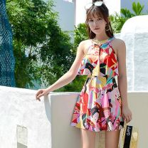 one piece  Other M,L,XL,XXL 9004 pink, 9004 royal blue Skirt one piece With chest pad without steel support Spandex, polyester L9004 female Sleeveless Casual swimsuit