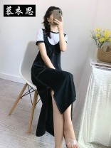 Dress Summer 2020 Black + white S,M,L,XL,XXL longuette Two piece set Short sleeve commute Crew neck High waist Solid color Socket A-line skirt other straps 25-29 years old Moyisi pocket polyester fiber