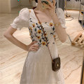 Dress Spring 2021 Jacket short skirt long skirt S M L XL Mid length dress singleton  Short sleeve commute square neck High waist Solid color Socket A-line skirt routine Others 25-29 years old Type A Gentle and graceful Retro Embroidery gauze More than 95% Chiffon other Other 100%