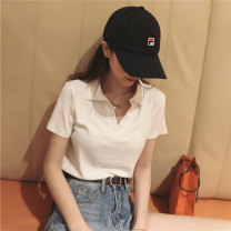 T-shirt White, black, stripe, tail goods are delivered randomly M,L,XL Summer 2021 Short sleeve Polo collar easy Regular routine commute other 96% and above 18-24 years old Korean version Solid color