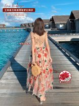 Dress Summer of 2019 Decor Xs, s, m, l, XL, [Madame Islander] brand original non market currency longuette singleton  Sleeveless commute V-neck High waist Big flower zipper A-line skirt other camisole 25-29 years old Type A Island song lady Simplicity More than 95% polyester fiber