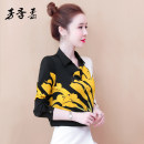 shirt Yellow and white flowers S M L XL 2XL Spring 2021 other 96% and above Long sleeves commute Regular V-neck Socket routine Broken flowers 25-29 years old Straight cylinder Fang Jirou Korean version 8210# printing Other 100% Pure e-commerce (online only) Chiffon