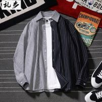 shirt Youth fashion Others S 110-120, m 120-140, l 140-155, XL 155-170, 2XL 170-185, 3XL 185-195 Black with gray, blue with white, big stripe blue, black 695, white 695 routine Pointed collar (regular) Long sleeves easy daily autumn 19C354 youth Cotton 60.5% polyester 39.5% tide 2019 stripe cotton