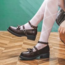 Low top shoes 34,35,36,37,38,39,40 Other / other Round head Double skin (except cattle suede) Thick heel Middle heel (3-5cm) Shallow mouth Superfine fiber Summer 2020 Flat buckle Lolita Adhesive shoes Solid color TPR (tendon) Single shoes Shallow mouth, bow tie, belt buckle Microfiber skin daily