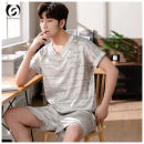 Pajamas / housewear set male Other / other 170(L),175(XL),180(2XL),185(3XL) Picture color other Short sleeve Simplicity pajamas summer Thin money shorts youth 2 pieces More than 95% other