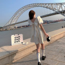Women's large Summer 2021 Milky white XS S M L Dress singleton  Sweet Socket Short sleeve square neck CSL00203 Caishuli (clothing accessories) 18-24 years old Short skirt Other 100% Pure e-commerce (online only) Princess Dress Lolita
