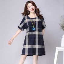 Dress Summer of 2019 Black, blue M,L,XL,3XL,2XL Mid length dress singleton  Short sleeve commute Crew neck Loose waist stripe Socket A-line skirt routine Others 35-39 years old Other Korean version ZQY2018Q8680 More than 95% other other