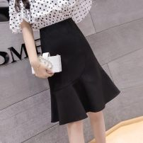 skirt Spring 2020 S,M,L,XL,2XL Apricot, black Short skirt commute High waist Ruffle Skirt Solid color Type A 25-29 years old MIMOQB5516 More than 95% Other / other other Lotus leaf edge