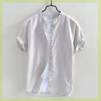 shirt Yereisurpsy Youth fashion routine stand collar Short sleeve easy Other leisure Four seasons R30142 youth Youthful vitality Flax 55% cotton 45% Solid color Linen Non iron treatment Button decoration M,L,XL,2XL,3XL,4XL