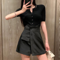 Casual pants Ginger white black S M L Summer 2021 shorts Wide leg pants High waist commute routine 18-24 years old JSQXBNA3121 JUSTQUEEN Korean version Other 100% Pure e-commerce (online only)