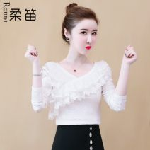 Lace / Chiffon Autumn of 2019 Red, white, black, pink S,M,L,XL,2XL Long sleeves commute Socket singleton  easy Regular V-neck Solid color routine 25-29 years old Other / other RDXFS6883 Flounce, embroidery, fold, Auricularia auricula, stitching, thread Korean version