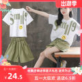 other Smile face letter white top + green shorts, Xiaoju letter white top + yellow shorts, Xiaoju letter white top + orange shorts【 Other / other 110,120,130,140,150,160,170