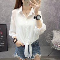 Lace / Chiffon Summer of 2019 Black, white, light green, [trumpet sleeve black], [trumpet sleeve white], pink purple S,M,L,XL Long sleeves commute Cardigan singleton  easy have cash less than that is registered in the accounts square neck Solid color routine 25-29 years old Other / other Q5071