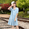 Dress Summer 2021 blue 160/M,170/XL,165/L,155/S Mid length dress singleton  Short sleeve Sweet Doll Collar Loose waist Solid color Single breasted other routine Others 18-24 years old Yuan and Ming Splicing other