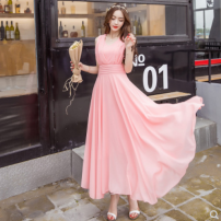 Dress Summer 2021 Yellow, red, black, pink S,M,L,XL Miniskirt singleton  Sleeveless commute V-neck middle-waisted Solid color Big swing 18-24 years old Type X Other / other 51% (inclusive) - 70% (inclusive) Chiffon polyester fiber