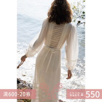 """Dress Spring 2021 Dark at night, dark at night """"second batch"""", tea brown, cloud white, cloud white """"second batch"""" S,M,L longuette singleton  three quarter sleeve commute Crew neck middle-waisted Solid color Socket A-line skirt routine Others 25-29 years old Type X Simplicity A21A631019 More than 95%"""