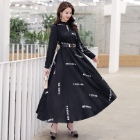 Dress Spring 2021 White, black M,L,XL,2XL longuette singleton  Long sleeves commute Crew neck Loose waist letter Socket Big swing routine Others 25-29 years old Type A Other / other Korean version Hollowing out More than 95%