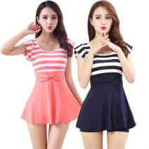 Split swimsuit See description S-70-80kg, m-80-95kg, l-95-105kg, xl-105-120kg, xxl-120-140kg, xxxl-140-160kg, 4xl-160-180kg, 5xl-180-200kg Skirt split swimsuit With chest pad without steel support Polyester, others female Crew neck