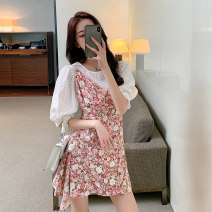 Dress Summer 2021 Pink Blue S M L XL Short skirt Two piece set Short sleeve commute Crew neck High waist Broken flowers Socket A-line skirt routine camisole 18-24 years old Type A Beloved blossoms printing 71% (inclusive) - 80% (inclusive) Chiffon cotton Cotton 75% polyester 25%