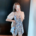Dress Summer 2021 Pink light blue S M L XL Short skirt Two piece set Short sleeve commute Crew neck High waist Decor Socket A-line skirt routine 18-24 years old Type A Beloved blossoms printing 71% (inclusive) - 80% (inclusive) cotton Cotton 75% polyester 25%